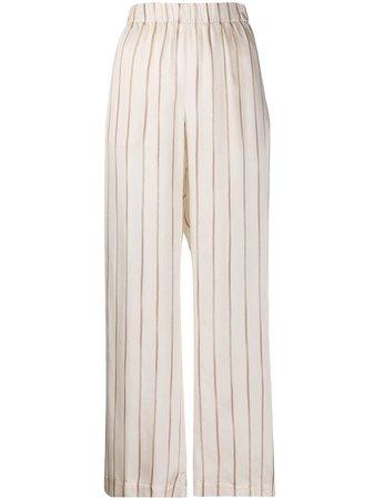 Peserico Striped Wide Leg Trousers - Farfetch
