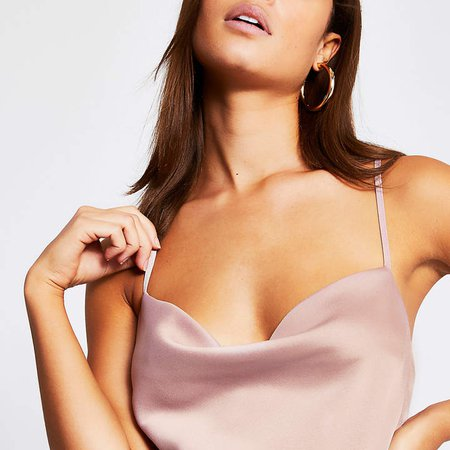 Light pink cowl neck satin cami top