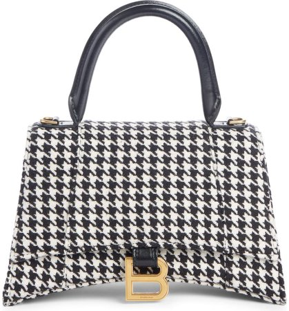 Balenciaga Small Hourglass Houndstooth Top Handle Bag | Nordstrom