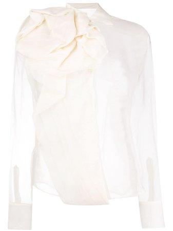 white transparent draped blouse