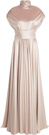 Christian Siriano Velvet Ruched Cap Sleeve Gown