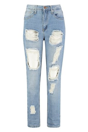 High Waist Distress Mom Jeans | Boohoo UK
