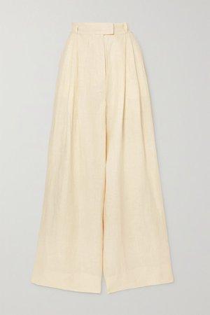 Molly Pleated Linen Wide-leg Pants - Neutral