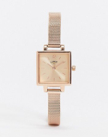 Limit square dial mesh watch in rose gold | ASOS