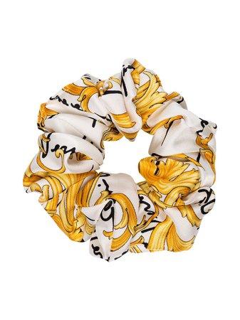 White Versace Baroque Print Scrunchie | Farfetch.com