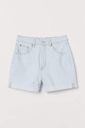 Mom Fit Denim Shorts - Blue