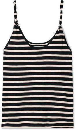The Twisted Striped Stretch-cotton Jersey Tank - Navy