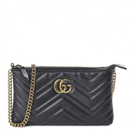 GUCCI Calfskin Matelasse Mini GG Marmont Chain Bag Black 522249