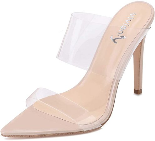 Amazon.com | vivianly Sexy Clear High Heels Transparent Strap Mules Pointed Toe Stilettos Slip on Dress Heel Sandals for Women | Heeled Sandals