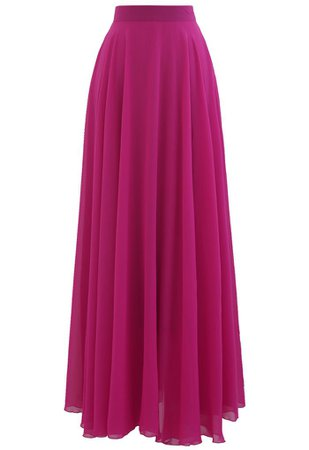Timeless Favorite Chiffon Maxi Skirt in Magenta - Retro, Indie and Unique Fashion