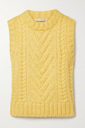 Frida Cable-knit Silk Tank - Yellow