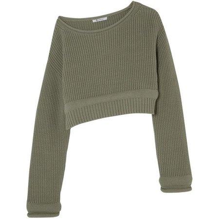 olive green off shoulder crop sweater - Google Search