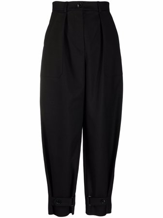 12 STOREEZ Black High Waisted Cropped Trousers