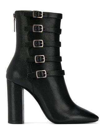 Saint Laurent Lou Buckle Strap Ankle Boots - Farfetch