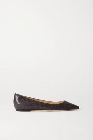 Romy Snake-effect Leather Point-toe Flats - Snake print
