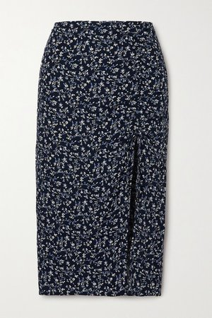 Prose Floral-print Crepe Midi Skirt - Blue