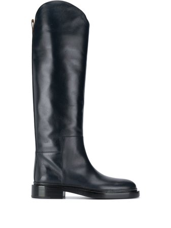 Jil Sander calf leather slip-on boots