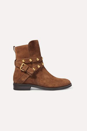 Studded Suede Ankle Boots - Tan