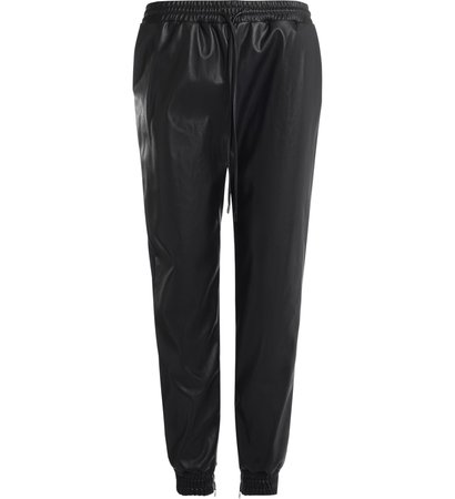 Michael Kors Trousers In Black Vegan Leather With Drawstring Waist