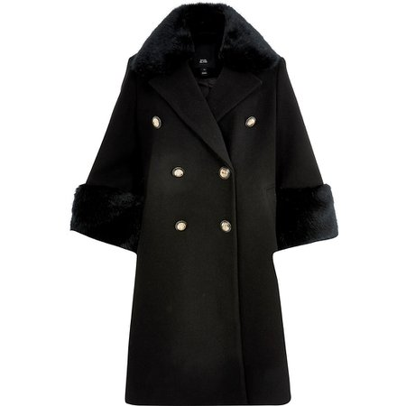 Black faux fur cuff swing coat | River Island