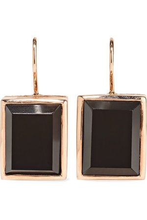 Dezso by Sara Beltrán | 18-karat rose gold onyx earrings | NET-A-PORTER.COM