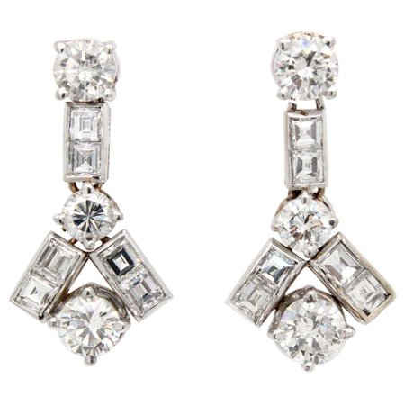 Geometric Diamond Solitaire Earrings, 1960s For Sale at 1stDibs