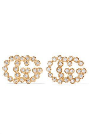 Gucci | 18-karat gold diamond earrings | NET-A-PORTER.COM