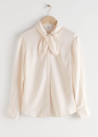 Satin Pussy Bow Blouse - White - Blouses - & Other Stories