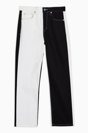 Black and White Colour Block Editor Straight Jeans | Topshop