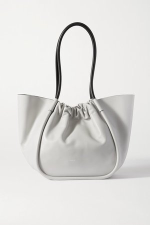Ruched Leather Tote - Gray