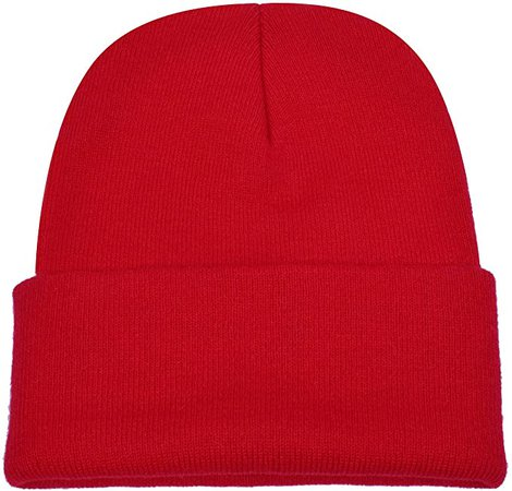 PZLE Winter Hats Red Beanie Skull Caps Knit Hat Ski Cap Cuff Beanie Hats Red … at Amazon Men's Clothing store