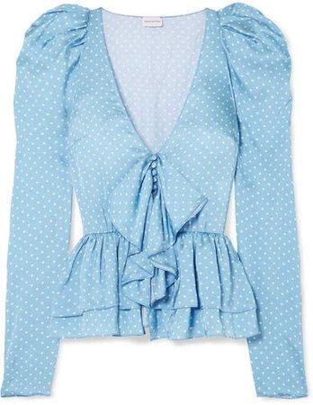 Cefalu Polka-dot Silk-satin Peplum Top - Light blue
