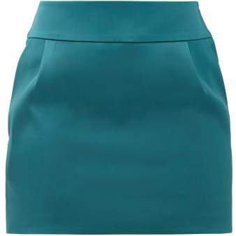 Pleated Satin Mini Skirt - Womens - Blue