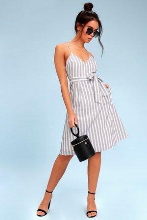 Black and White Striped Dress - Sleeveless Midi Dress - Lulus