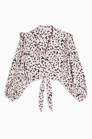 Pink Animal Print Frill Tie Front Blouse | Topshop