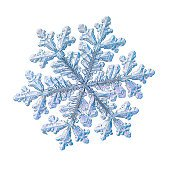 Blue Snowflake On White Background Stock Photo - Download Image Now - iStock