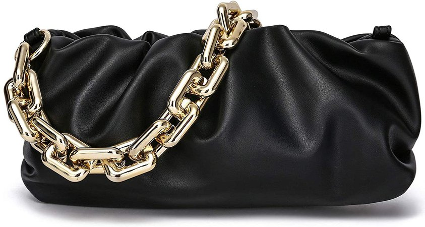 CATMICOO Chunk Chain Dumpling Bag Cloud Clutch Purse for Women with Ruched Detail (Brown): Handbags: Amazon.com