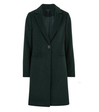 Dark Green Revere Collar Long Coat   New Look