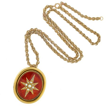Art Nouveau Guilloche Enamel Pearl Diamond Gold Locket Necklace For Sale at 1stDibs