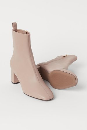 Block-heeled ankle boots - Beige - Ladies | H&M