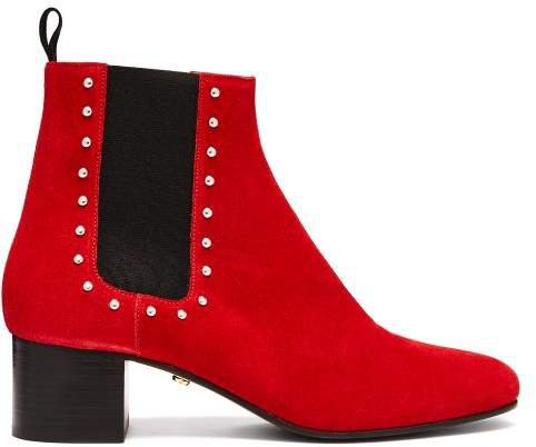 Stud Embellished Suede Chelsea Boots - Womens - Red