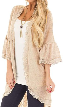 Spadehill Women's 3/4 Bell Sleeve Kimono Cardigan with Sheer Lace Details at Amazon Women's Clothing store