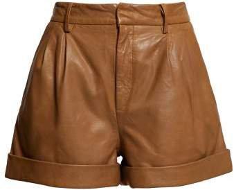 Abot High Rise Washed Leather Shorts - Womens - Camel
