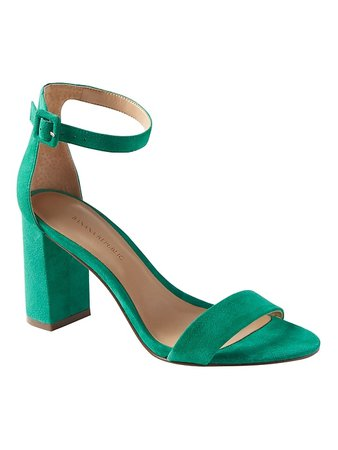 Bare High Block-Heel Sandal   Banana Republic Green