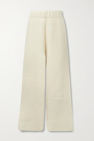 Knitted Wide-leg Pants - Off-white