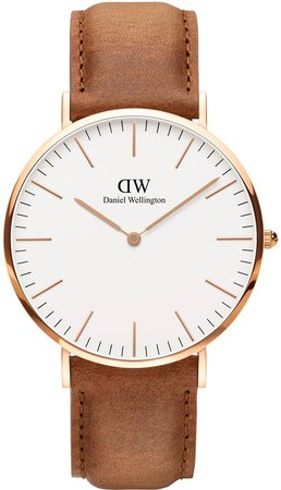 Classic Durham Leather Strap Watch, 40mm