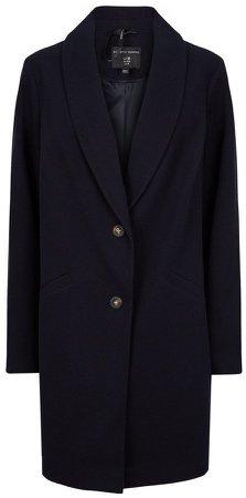 **DP Curve Navy Shawl Collar Coat