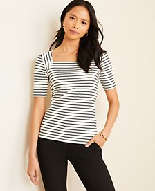 Striped Square Neck Luxe Tee   Ann Taylor