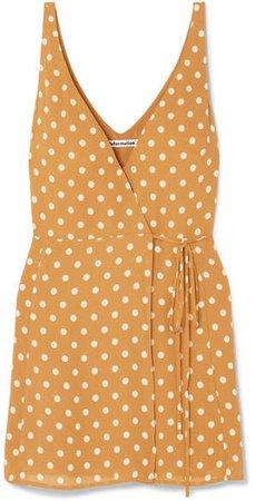 Anchorace Polka-dot Georgette Mini Wrap Dress - Mustard