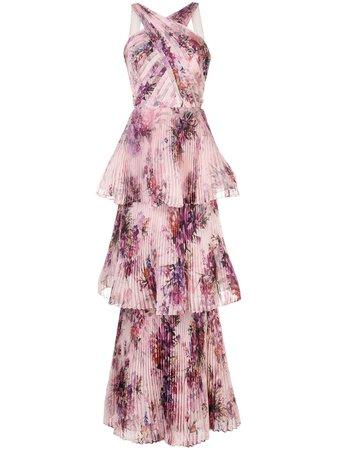 Marchesa Notte, plated halterneck gown